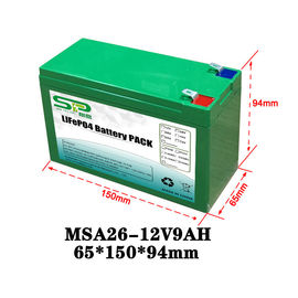 China Green 9Ah 12 Volt Lithium Battery Pack NCM/LiFePO4 For Smart Security Monitoring distributor